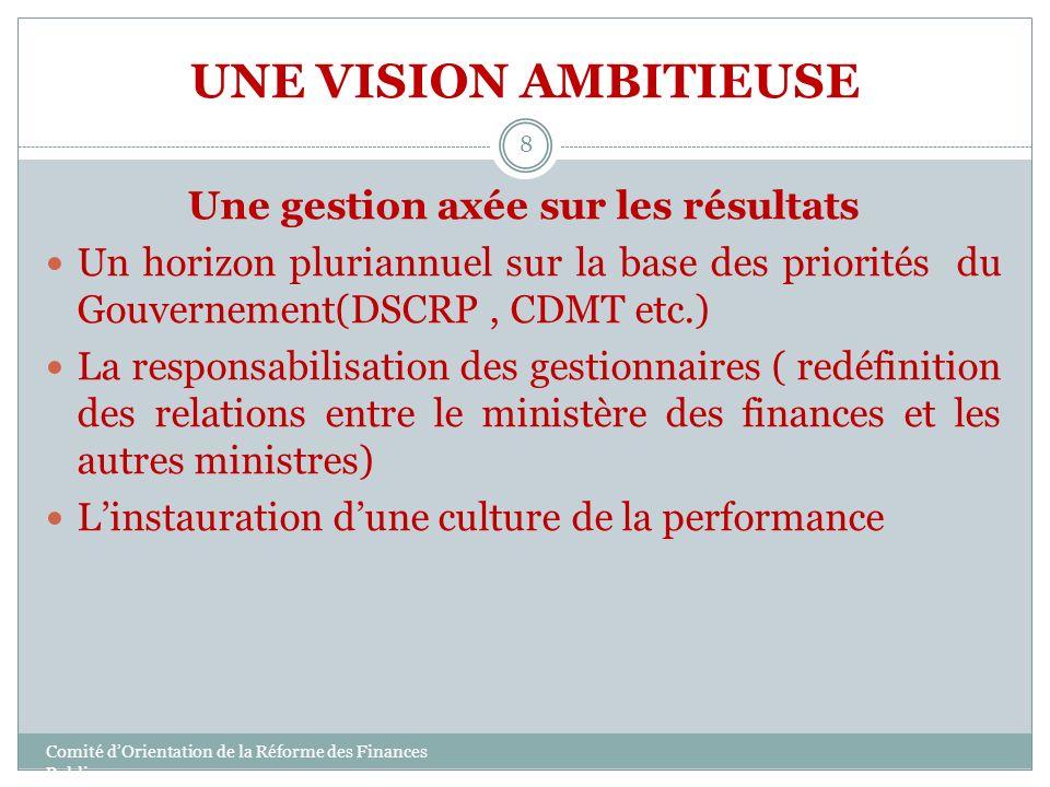 UNE VISION AMBITIEUSE Une gestion axée sur les résultats Un horizon pluriannuel sur la base des priorités du Gouvernement(DSCRP, CDMT etc.) La respons