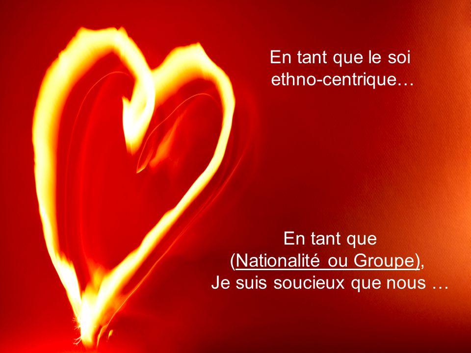 En tant que (Nationalité ou Groupe), Je suis soucieux que nous … En tant que le soi ethno-centrique…