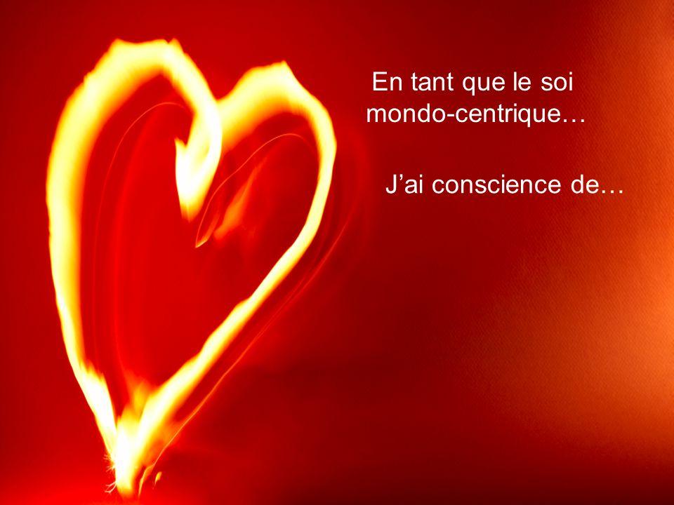 Jai conscience de… En tant que le soi mondo-centrique…