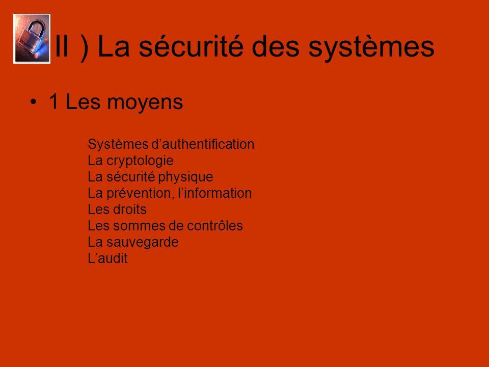 II ) La sécurité des systèmes 1 Les moyens Systèmes dauthentification La cryptologie La sécurité physique La prévention, linformation Les droits Les s