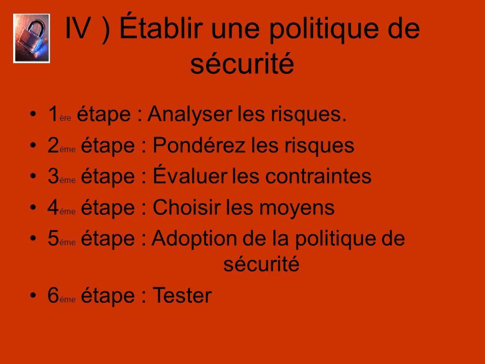 IV ) Établir une politique de sécurité 1 ère étape : Analyser les risques. 2 éme étape : Pondérez les risques 3 éme étape : Évaluer les contraintes 4