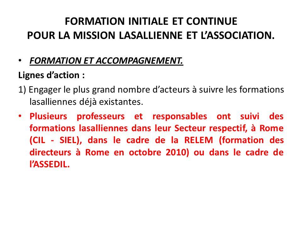 FORMATION INITIALE ET CONTINUE POUR LA MISSION LASALLIENNE ET LASSOCIATION. FORMATION ET ACCOMPAGNEMENT. Lignes daction : 1) Engager le plus grand nom