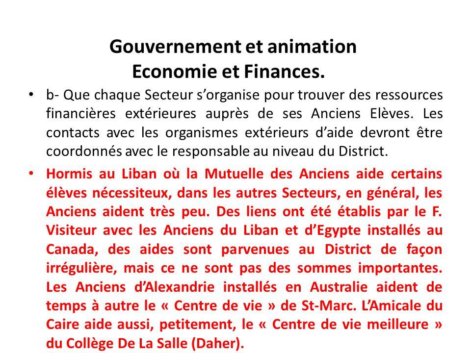 Gouvernement et animation Economie et Finances. b- Que chaque Secteur sorganise pour trouver des ressources financières extérieures auprès de ses Anci