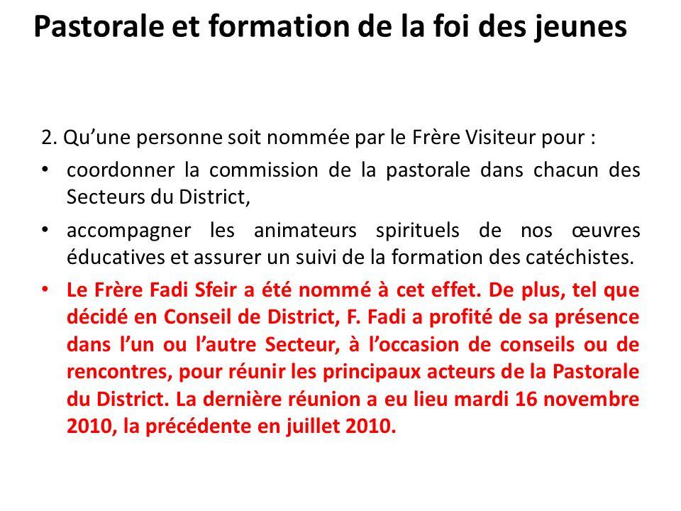 Pastorale et formation de la foi des jeunes 2. Quune personne soit nommée par le Frère Visiteur pour : coordonner la commission de la pastorale dans c