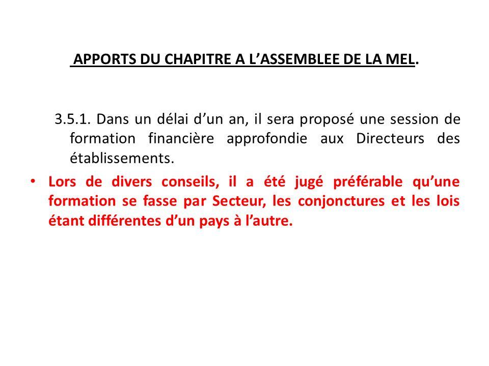 APPORTS DU CHAPITRE A LASSEMBLEE DE LA MEL. 3.5.1.