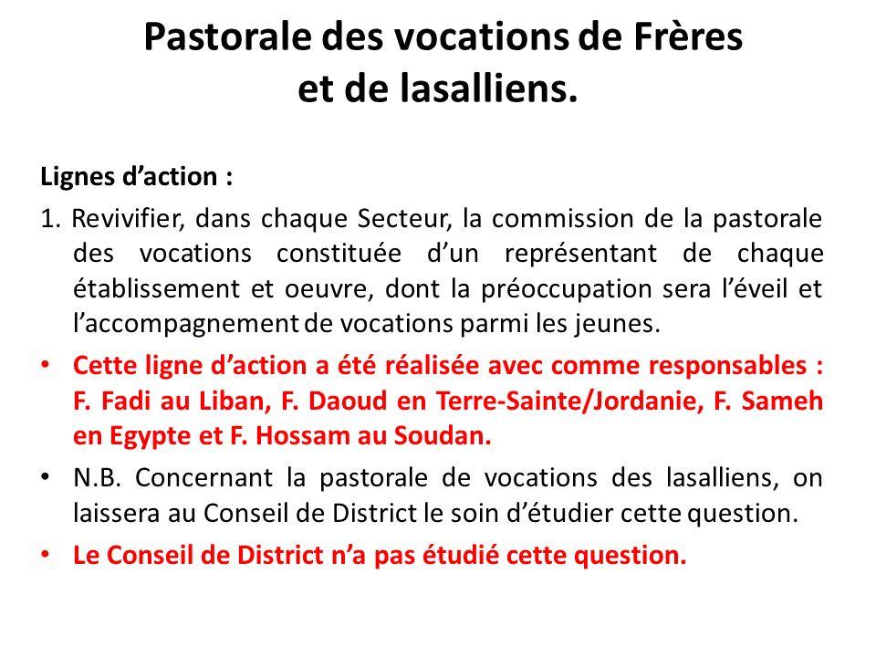 Pastorale des vocations de Frères et de lasalliens. Lignes daction : 1. Revivifier, dans chaque Secteur, la commission de la pastorale des vocations c