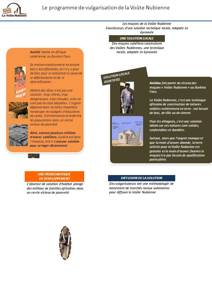 Le programme de vulgarisation de la Voûte Nubienne Amidou fait partie du réseau des maçons « Voûte Nubienne » au Burkina Faso. La Voûte Nubienne, cest