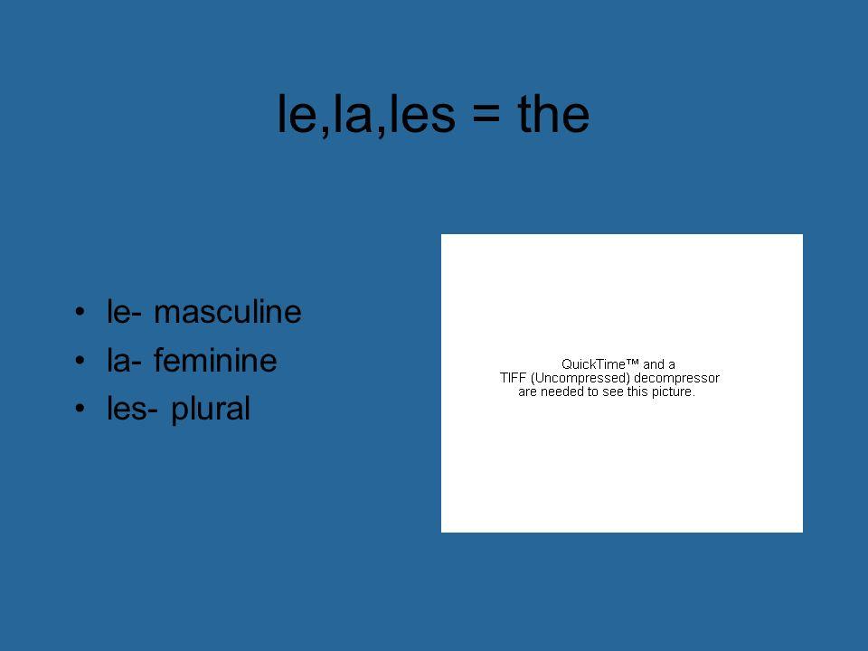 le,la,les = the le- masculine la- feminine les- plural