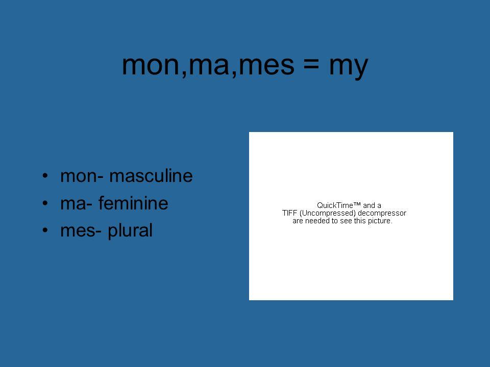 mon,ma,mes = my mon- masculine ma- feminine mes- plural