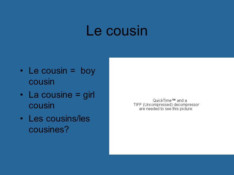 Le cousin Le cousin = boy cousin La cousine = girl cousin Les cousins/les cousines