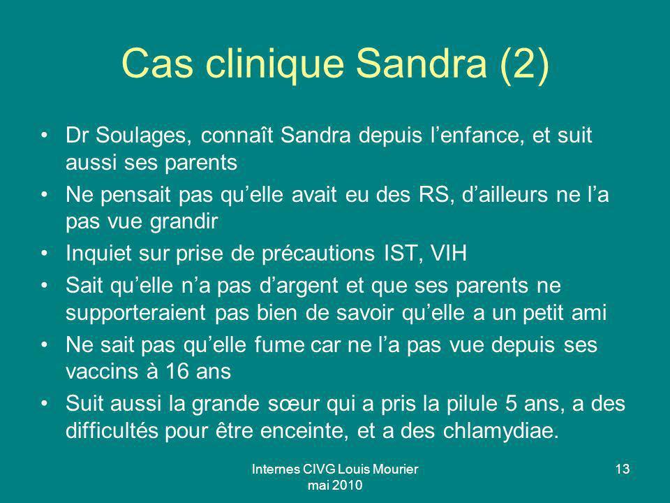 Internes CIVG Louis Mourier mai 2010 13 Cas clinique Sandra (2) Dr Soulages, connaît Sandra depuis lenfance, et suit aussi ses parents Ne pensait pas