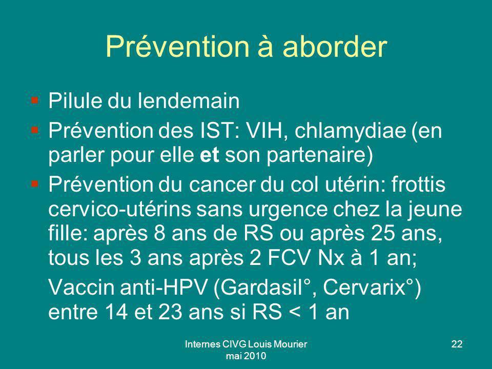 Internes CIVG Louis Mourier mai 2010 22 Prévention à aborder Pilule du lendemain Prévention des IST: VIH, chlamydiae (en parler pour elle et son parte