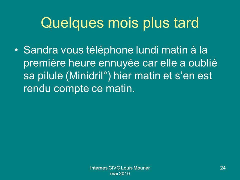 Internes CIVG Louis Mourier mai 2010 24 Quelques mois plus tard Sandra vous téléphone lundi matin à la première heure ennuyée car elle a oublié sa pil