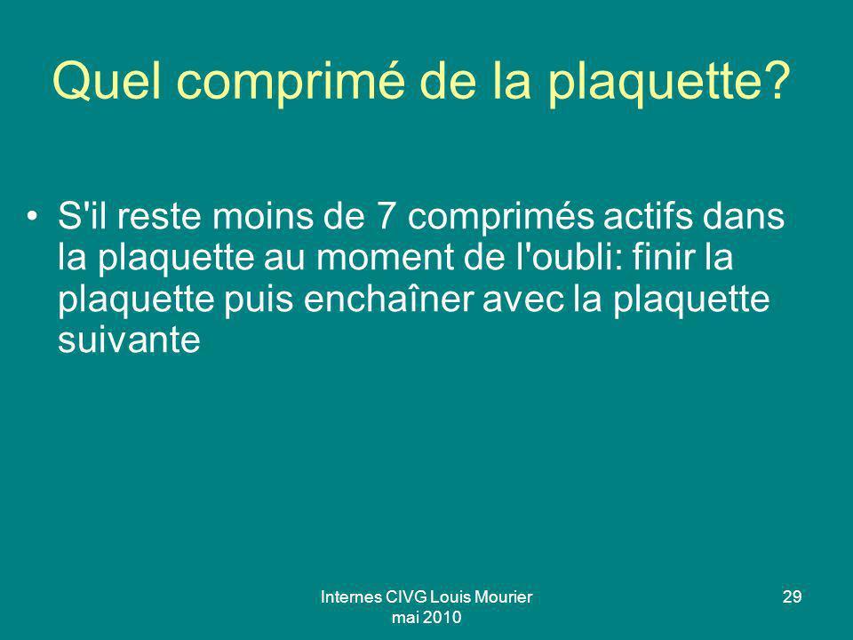Internes CIVG Louis Mourier mai 2010 29 Quel comprimé de la plaquette? S'il reste moins de 7 comprimés actifs dans la plaquette au moment de l'oubli: