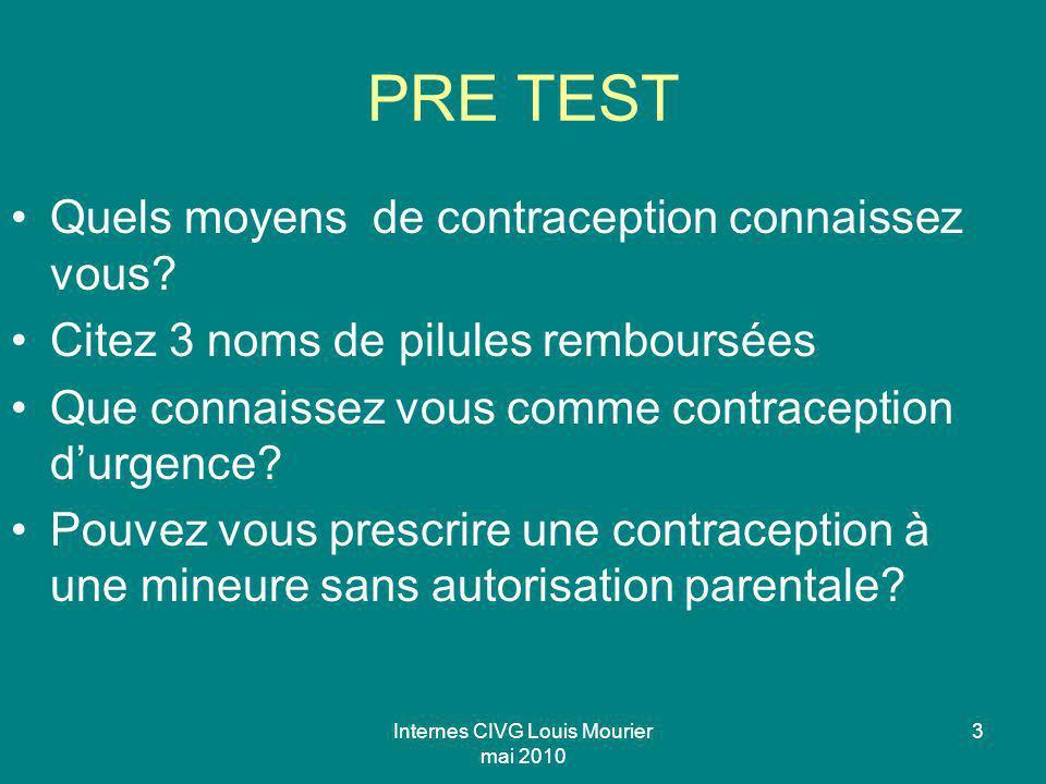 Internes CIVG Louis Mourier mai 2010 3 PRE TEST Quels moyens de contraception connaissez vous? Citez 3 noms de pilules remboursées Que connaissez vous