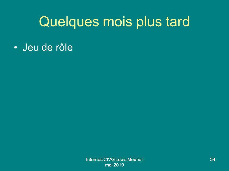Internes CIVG Louis Mourier mai 2010 34 Quelques mois plus tard Jeu de rôle