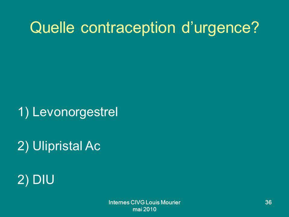 Internes CIVG Louis Mourier mai 2010 36 Quelle contraception durgence? 1) Levonorgestrel 2) Ulipristal Ac 2) DIU