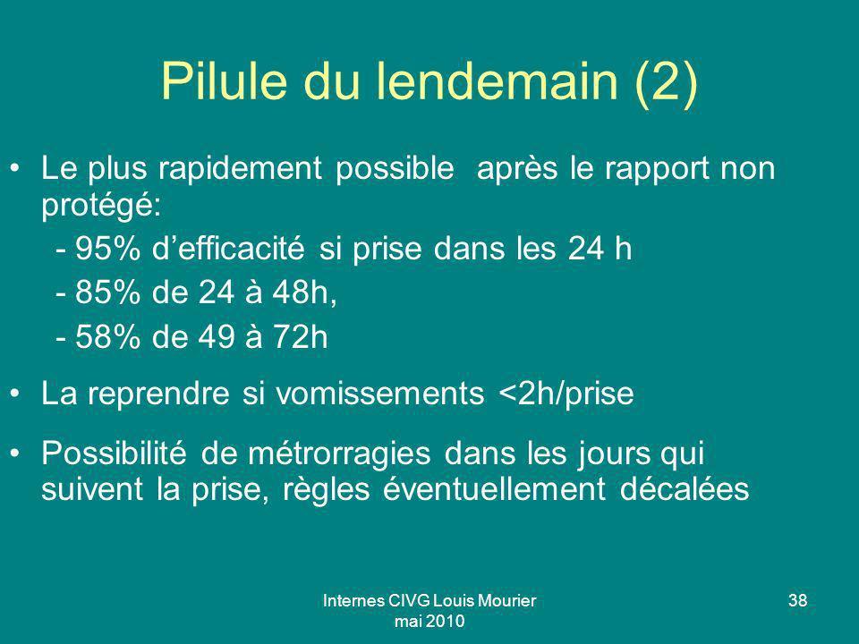 Internes CIVG Louis Mourier mai 2010 38 Pilule du lendemain (2) Le plus rapidement possible après le rapport non protégé: - 95% defficacité si prise d