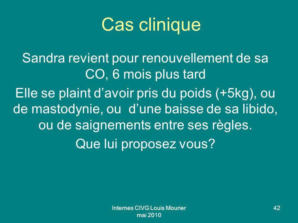 Internes CIVG Louis Mourier mai 2010 42 Cas clinique Sandra revient pour renouvellement de sa CO, 6 mois plus tard Elle se plaint davoir pris du poids