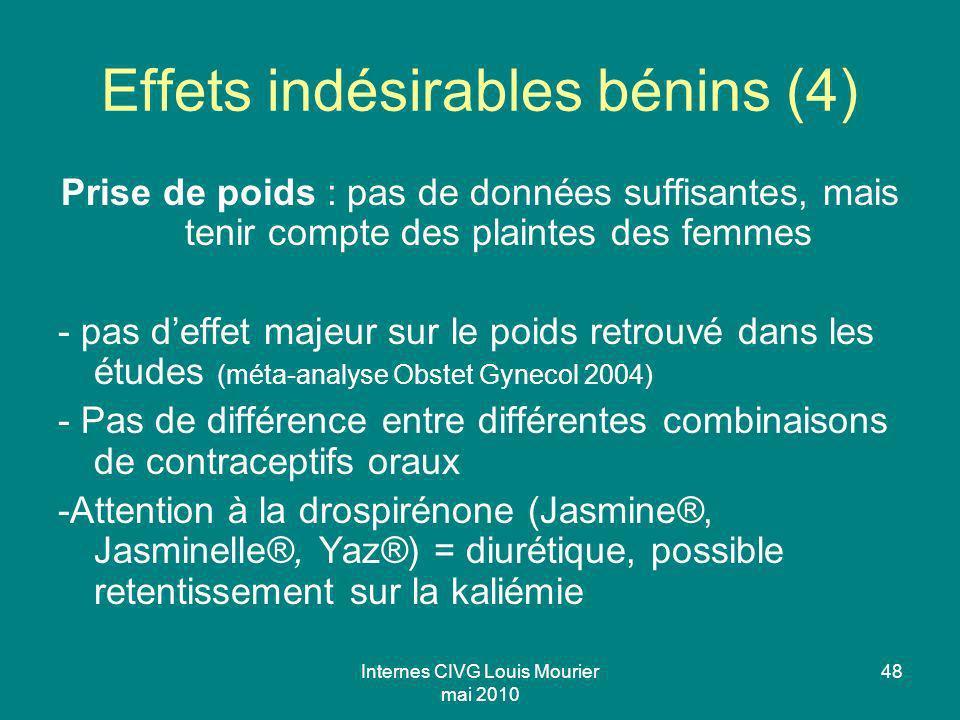 Internes CIVG Louis Mourier mai 2010 48 Effets indésirables bénins (4) Prise de poids : pas de données suffisantes, mais tenir compte des plaintes des