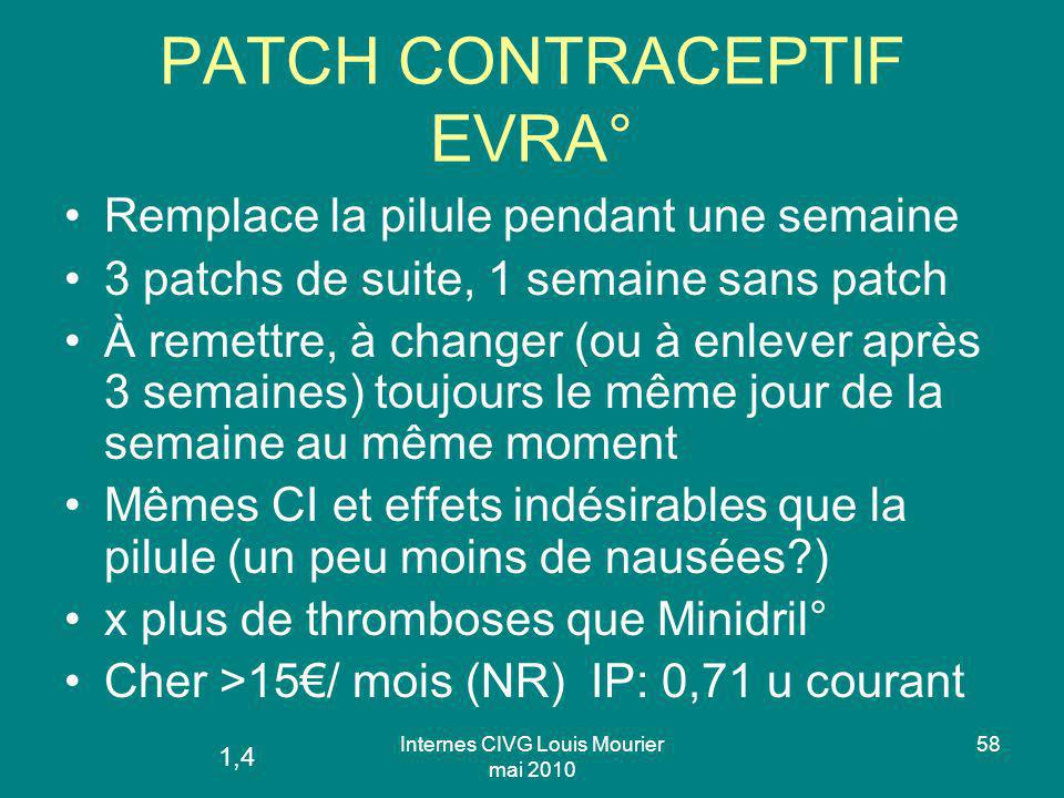 Internes CIVG Louis Mourier mai 2010 58 PATCH CONTRACEPTIF EVRA° Remplace la pilule pendant une semaine 3 patchs de suite, 1 semaine sans patch À reme