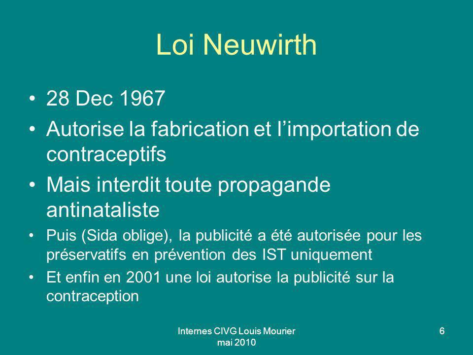 Internes CIVG Louis Mourier mai 2010 6 Loi Neuwirth 28 Dec 1967 Autorise la fabrication et limportation de contraceptifs Mais interdit toute propagand
