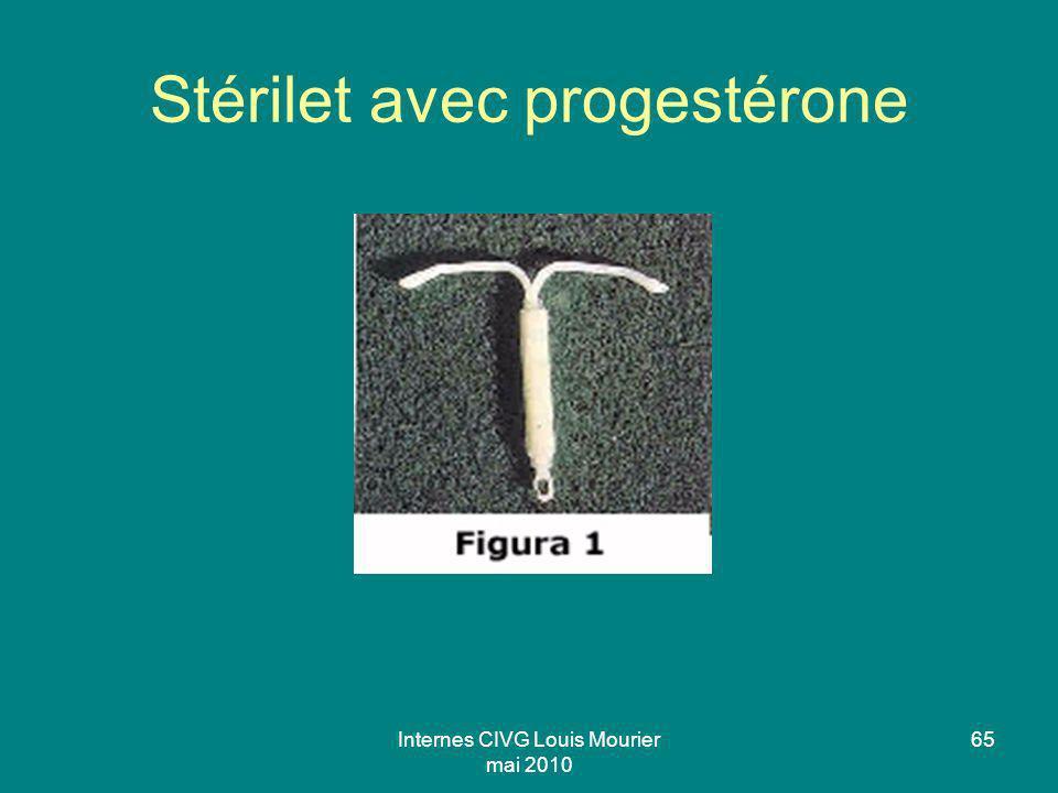 Internes CIVG Louis Mourier mai 2010 65 Stérilet avec progestérone