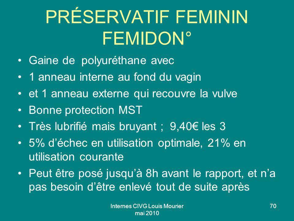 Internes CIVG Louis Mourier mai 2010 70 PRÉSERVATIF FEMININ FEMIDON° Gaine de polyuréthane avec 1 anneau interne au fond du vagin et 1 anneau externe