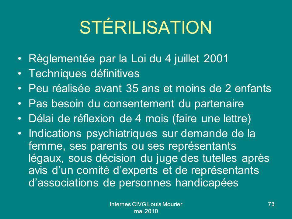 Internes CIVG Louis Mourier mai 2010 73 STÉRILISATION Règlementée par la Loi du 4 juillet 2001 Techniques définitives Peu réalisée avant 35 ans et moi