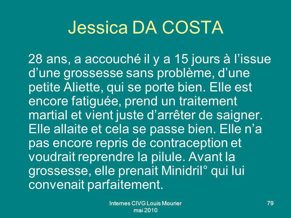 Internes CIVG Louis Mourier mai 2010 79 Jessica DA COSTA 28 ans, a accouché il y a 15 jours à lissue dune grossesse sans problème, dune petite Aliette