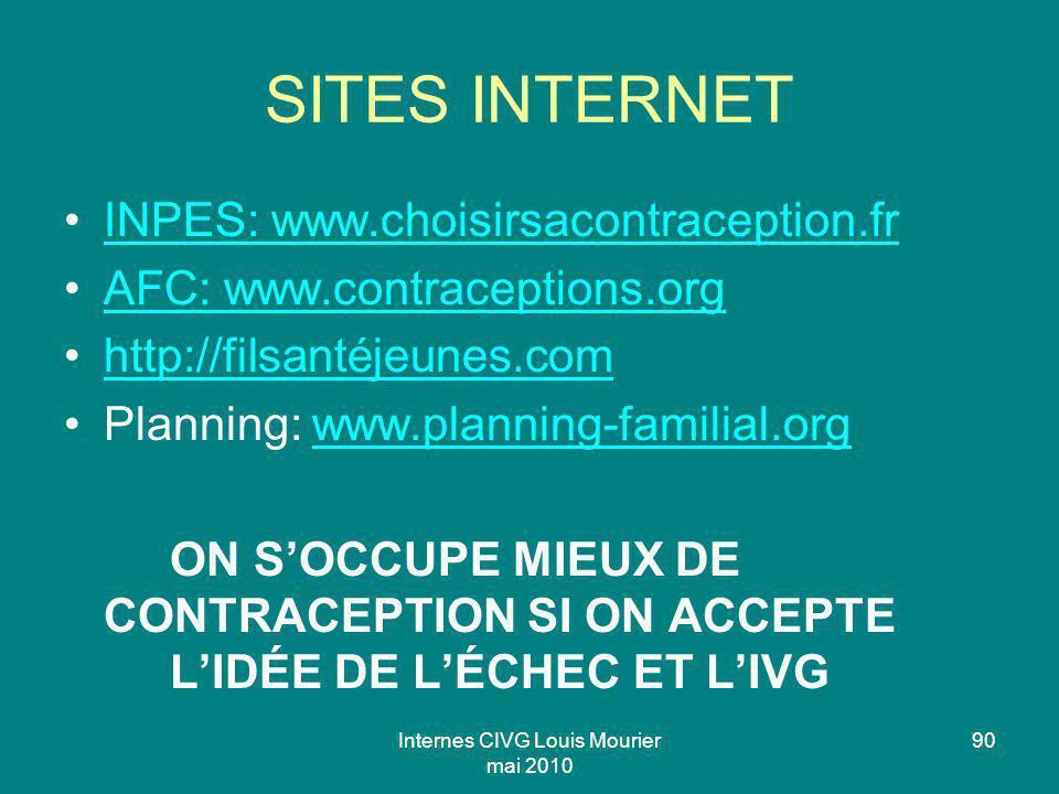 Internes CIVG Louis Mourier mai 2010 90 SITES INTERNET INPES: www.choisirsacontraception.fr AFC: www.contraceptions.org http://filsantéjeunes.com Plan