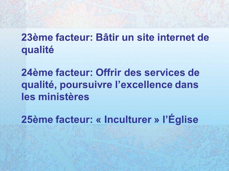 23ème facteur: Bâtir un site internet de qualité 24ème facteur: Offrir des services de qualité, poursuivre lexcellence dans les ministères 25ème facteur: « Inculturer » lÉglise