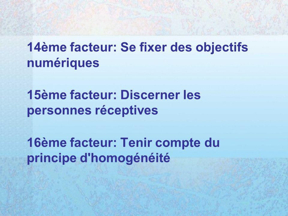 14ème facteur: Se fixer des objectifs numériques 15ème facteur: Discerner les personnes réceptives 16ème facteur: Tenir compte du principe d homogénéité
