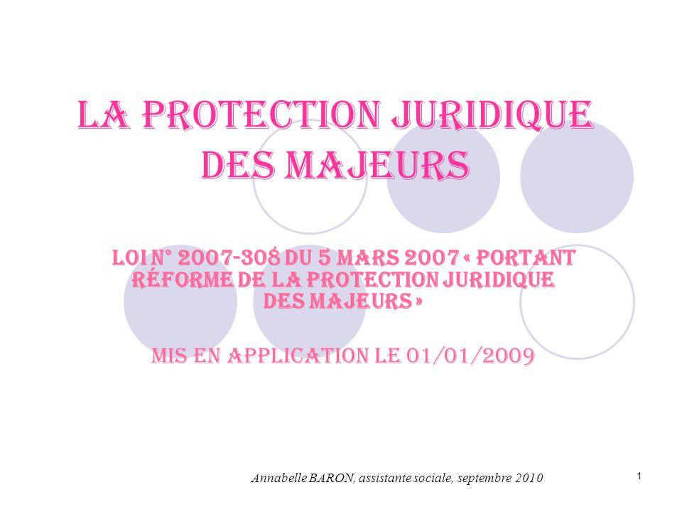 1 La protection juridique des majeurs Loi n° 2007-308 du 5 mars 2007 « portant réforme de la protection juridique des majeurs » Mis en application le