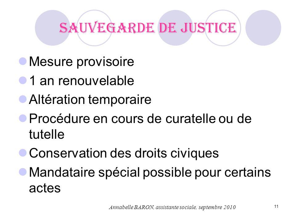 11 Sauvegarde de justice Mesure provisoire 1 an renouvelable Altération temporaire Procédure en cours de curatelle ou de tutelle Conservation des droi