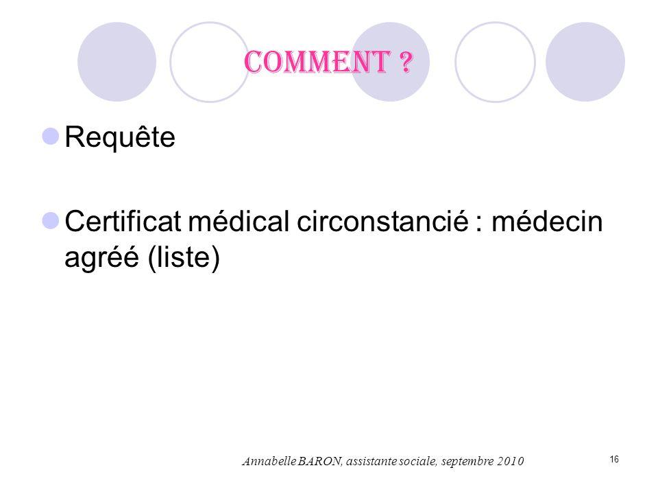 16 Comment ? Requête Certificat médical circonstancié : médecin agréé (liste) Annabelle BARON, assistante sociale, septembre 2010