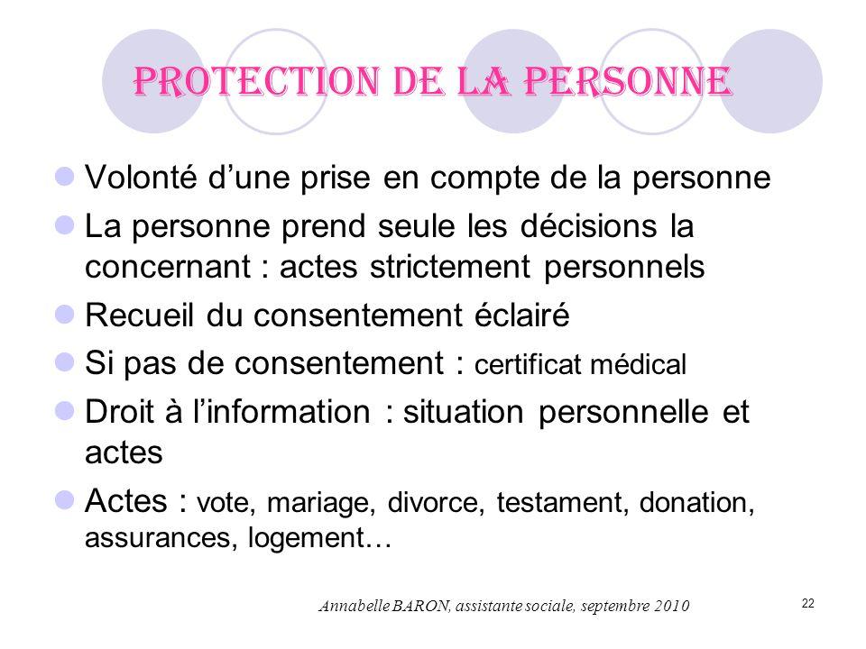 22 Protection de la personne Volonté dune prise en compte de la personne La personne prend seule les décisions la concernant : actes strictement perso