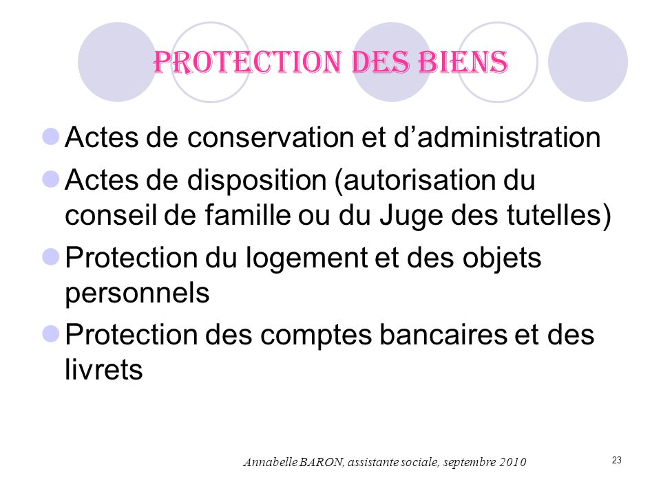 23 Protection des biens Actes de conservation et dadministration Actes de disposition (autorisation du conseil de famille ou du Juge des tutelles) Pro