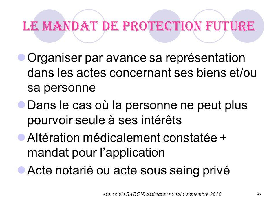 26 Le mandat de protection future Organiser par avance sa représentation dans les actes concernant ses biens et/ou sa personne Dans le cas où la perso