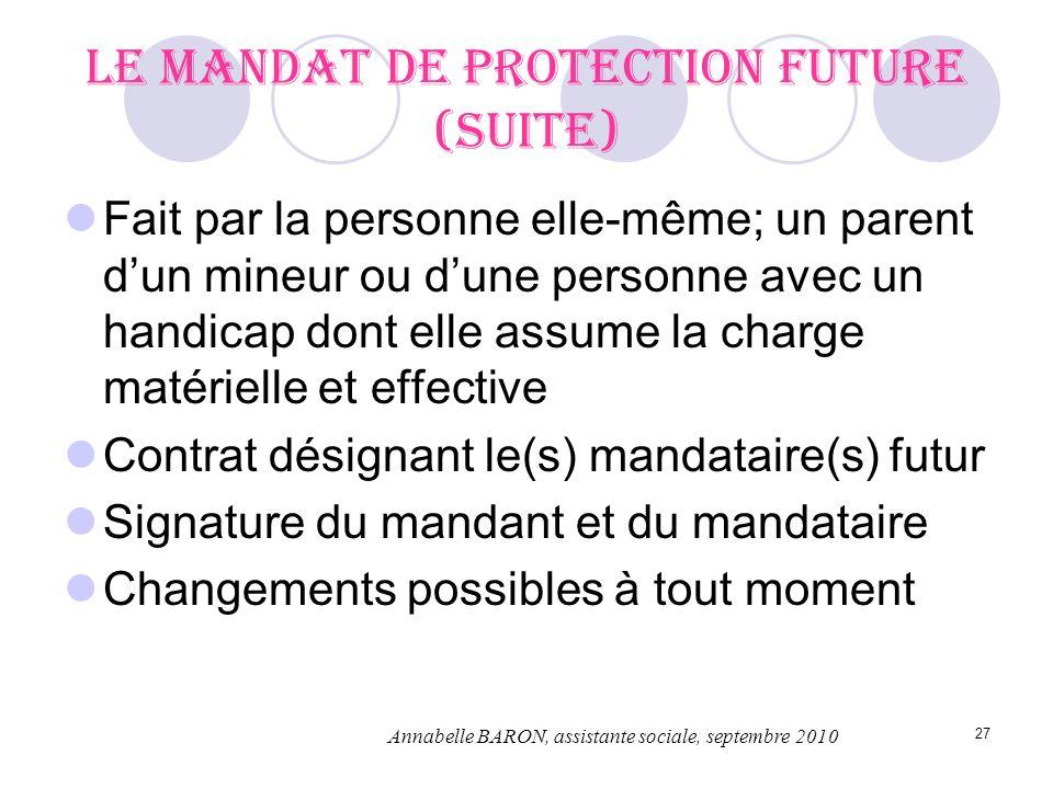 27 Le mandat de protection future (suite) Fait par la personne elle-même; un parent dun mineur ou dune personne avec un handicap dont elle assume la c