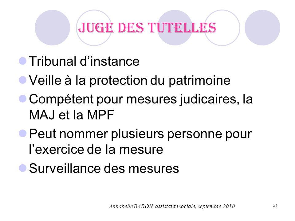 31 Juge des tutelles Tribunal dinstance Veille à la protection du patrimoine Compétent pour mesures judicaires, la MAJ et la MPF Peut nommer plusieurs