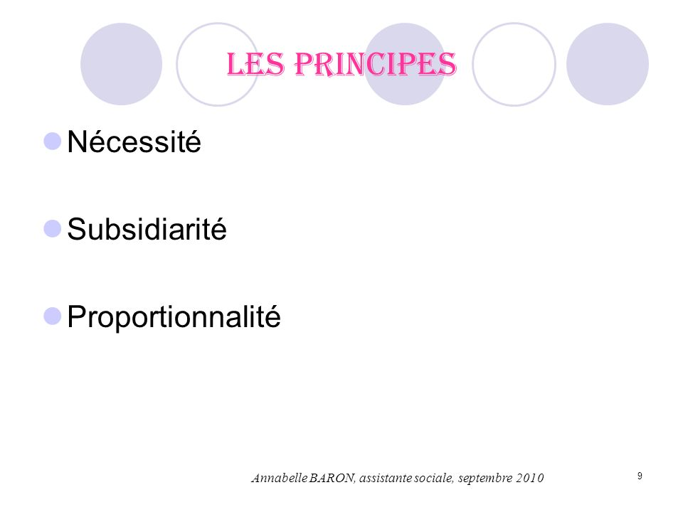 9 Les principes Nécessité Subsidiarité Proportionnalité Annabelle BARON, assistante sociale, septembre 2010