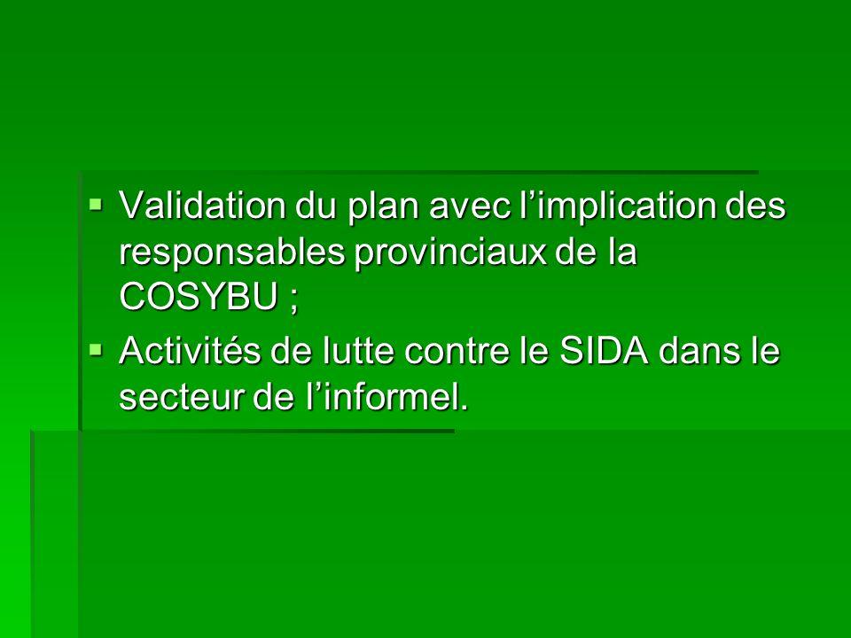 Validation du plan avec limplication des responsables provinciaux de la COSYBU ; Validation du plan avec limplication des responsables provinciaux de la COSYBU ; Activités de lutte contre le SIDA dans le secteur de linformel.