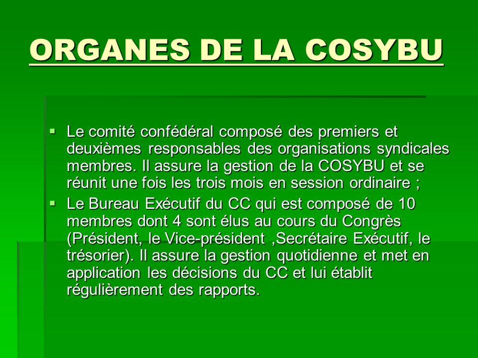 ORGANES DE LA COSYBU Le comité confédéral composé des premiers et deuxièmes responsables des organisations syndicales membres.
