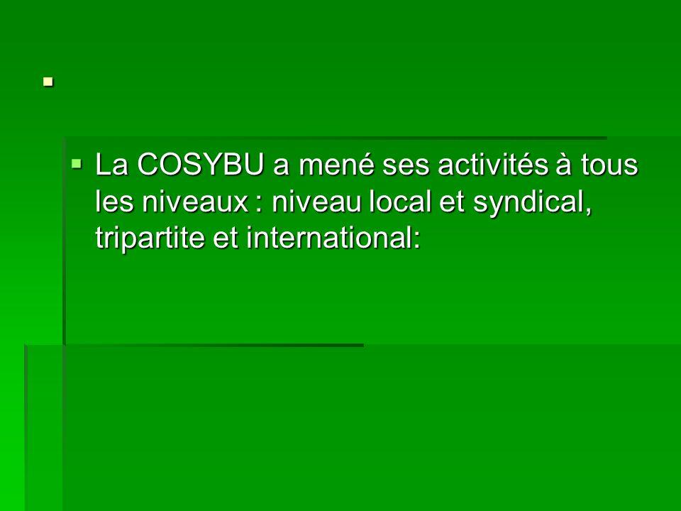 . La COSYBU a mené ses activités à tous les niveaux : niveau local et syndical, tripartite et international: La COSYBU a mené ses activités à tous les niveaux : niveau local et syndical, tripartite et international:
