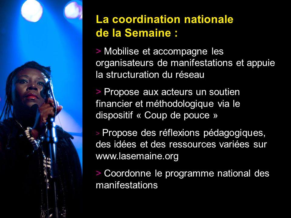 10 La coordination nationale de la Semaine : > Mobilise et accompagne les organisateurs de manifestations et appuie la structuration du réseau > Propo