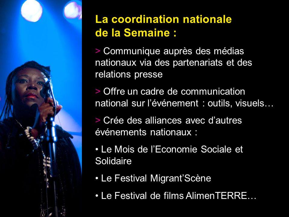 11 La coordination nationale de la Semaine : > Communique auprès des médias nationaux via des partenariats et des relations presse > Offre un cadre de