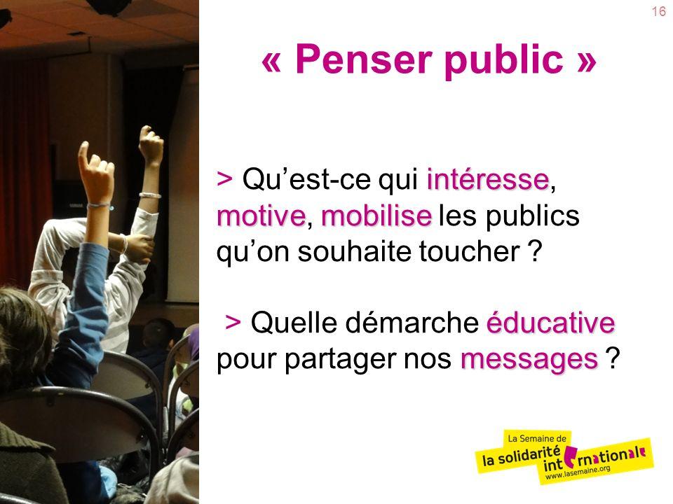 16 intéresse motivemobilise éducative messages > Quest-ce qui intéresse, motive, mobilise les publics quon souhaite toucher ? > Quelle démarche éducat
