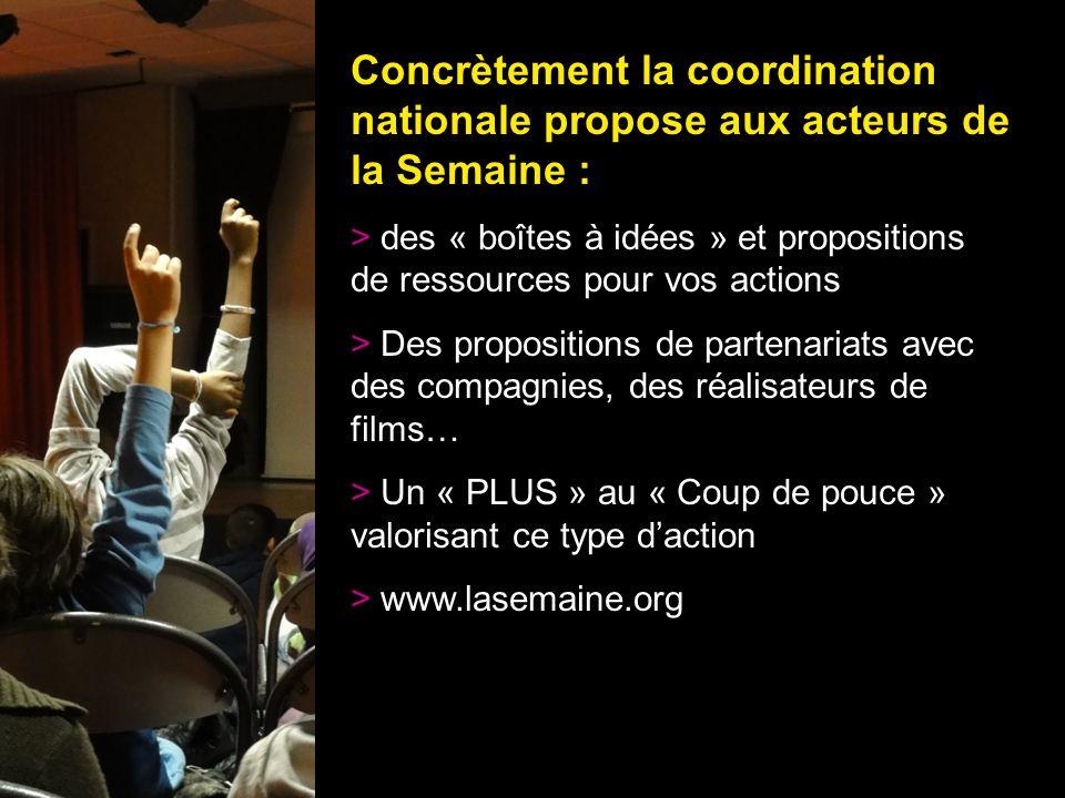 20 Concrètement la coordination nationale propose aux acteurs de la Semaine : > des « boîtes à idées » et propositions de ressources pour vos actions