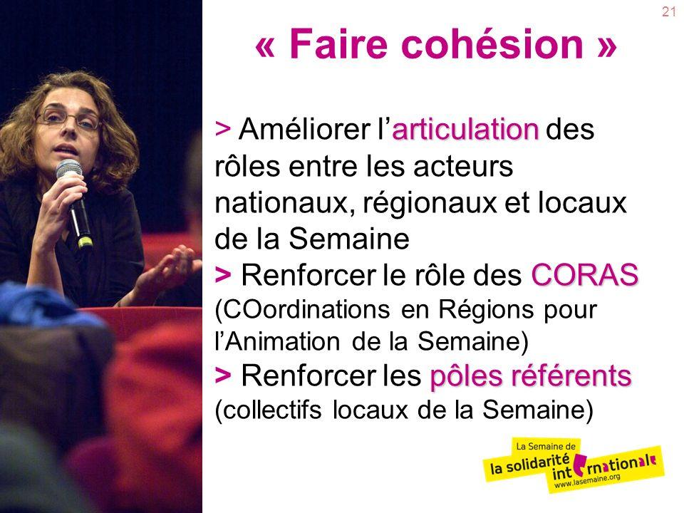 21 « Faire cohésion » articulation CORAS pôles référents > Améliorer larticulation des rôles entre les acteurs nationaux, régionaux et locaux de la Se